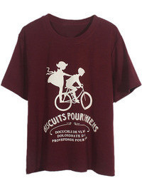 Burgundy Print Crew-neck T-shirt