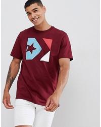 Converse Box Logo T Shirt In Burgundy 10007272 A04