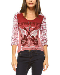 Burgundy Embellished Guitars Raglan Tee