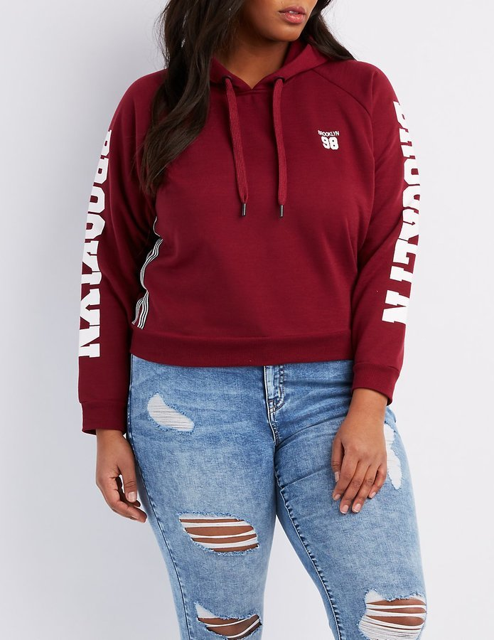 Charlotte Russe Plus Size Brooklyn Cropped Hoodie Where To Buy