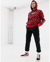 YOURTURN Slogan Hoodie In Red And Black Checkerboard Print