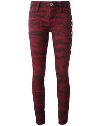 Burgundy Print Jeans
