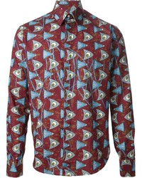 Burgundy Print Long Sleeve Shirt