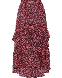 Ulla Johnson Maria Ruffled Printed Cotton And Silk Blend Jacquard Maxi Skirt Burgundy