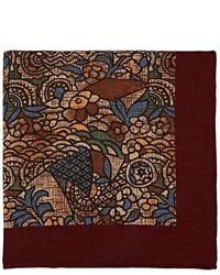 Finamore Abstract Print Wool Silk Pocket Square