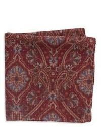 Black & Brown Black Brown Printed Wool Pocket Square