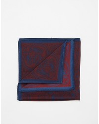 Asos Brand Pocket Square In Burgundy Paisley