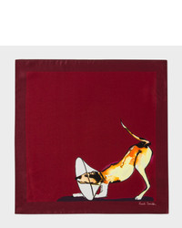 Paul Smith Burgundy Dog Print Silk Pocket Square