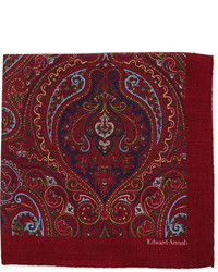 Edward Armah Paisley Print Wool Pocket Square Burgundy