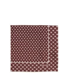 Prada Heart And Arrow Print Silk Pocket Square