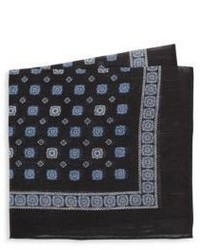 Saks Fifth Avenue Medallion Print Linen Silk Pocket Square