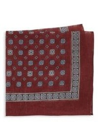 Saks Fifth Avenue Medallion Print Linen Silk Pocket Square