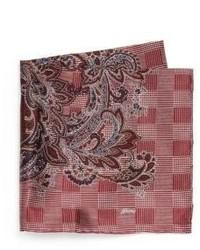 Brioni Medallion Print Silk Pocket Square