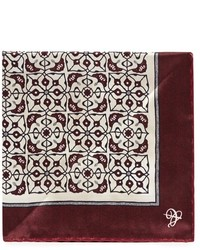 Canali Mosaic Floral Pattern Silk Pocket Square