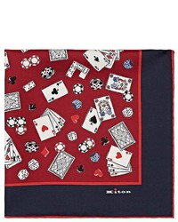 Kiton Playing Cards Print Silk Twill Pocket Square