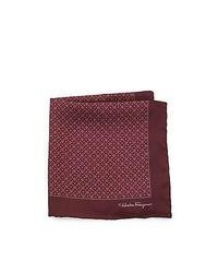 Salvatore Ferragamo Gancini Print Silk Pocket Square Burgundy