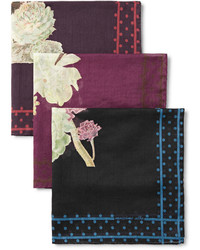 Massimo Alba Set Of Six Floral Print Cotton Pocket Squares