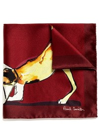 Paul Smith Watercolour Dog Print Silk Pocket Square