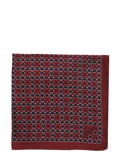 Z Zegna Printed Silk Pocket Square