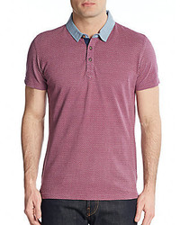 Saks Fifth Avenue Trim Fit Printed Cotton Polo