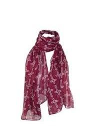 Ctm mid century cross print scarf burgundy one size medium 89775