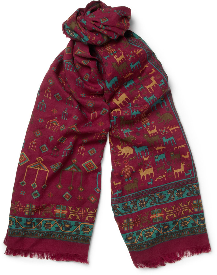 burgundy print scarf drakes drakes printed wool and silk