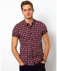 Burgundy Print Short Sleeve Shirt