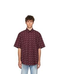 Balenciaga Burgundy All Over Logo Short Sleeve Shirt
