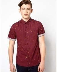 Men's Burgundy Short Sleeve Shirts from Asos | Men's Fashion