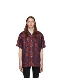 Gucci Red And Navy Baroque Jacquard Bowling Shirt