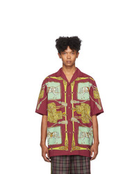 Gucci Red Baroque Sellier Bowl Short Sleeve Shirt