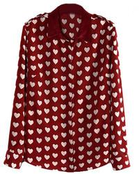 Chicnova point collar peach hearts printed blouse medium 133104