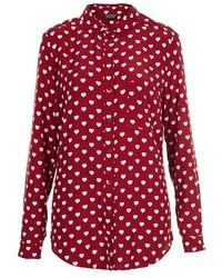 Heart print marocain shirt medium 9510
