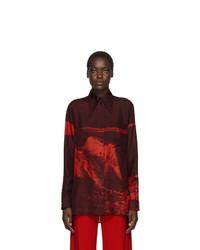 Kwaidan Editions Red Silk Habotai 70s Collar Shirt