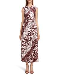 Victoria Beckham Print Side Gather Midi Dress