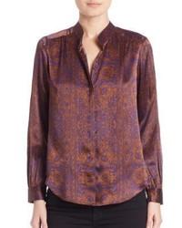 Printed long sleeve silk shirt medium 797712