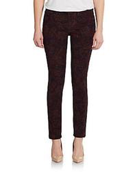 Burgundy Print Skinny Pants