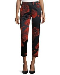 Flower print skinny ankle pants gladiola red medium 778954