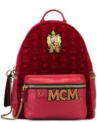 MCM Logo Print Patched Backpack