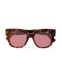 Fendi Oversized Square Frame Printed Tortoiseshell Acetate Sunglasses