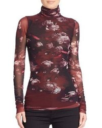 Fuzzi Floral Printed Turtleneck Top