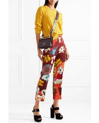 Prada Printed Wool And Silk Blend Straight Leg Pants Merlot