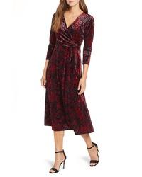 Chaus Paisley Velvet Faux Wrap Dress