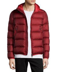 Moncler Chauvon Hooded Puffer Jacket Burgundy
