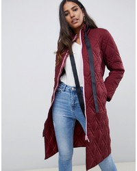 ASOS DESIGN Quilted Longline Puffer With Contrast Zip