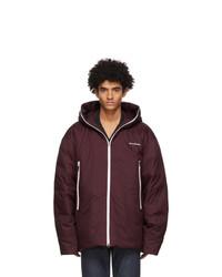 Acne Studios Burgundy Down Hooded Jacket
