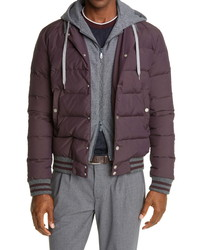 Eleventy Loro Piana Down Bomber Jacket With Removable Hooded Insert