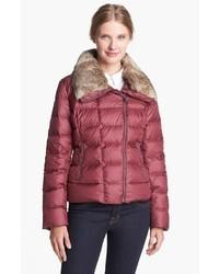 Tumi Stockholm Genuine Rabbit Fur Trim Down Moto Jacket