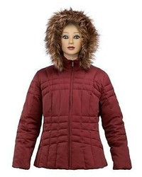 Calvin Klein Womans Burgundy Down Jacket With Faux Fur Hoodie Bnwt Large