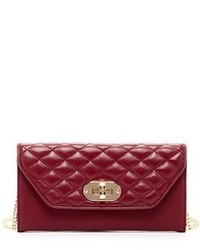Susu faye quilted envelope clutch crossbody leather wallet burgundy medium 647568
